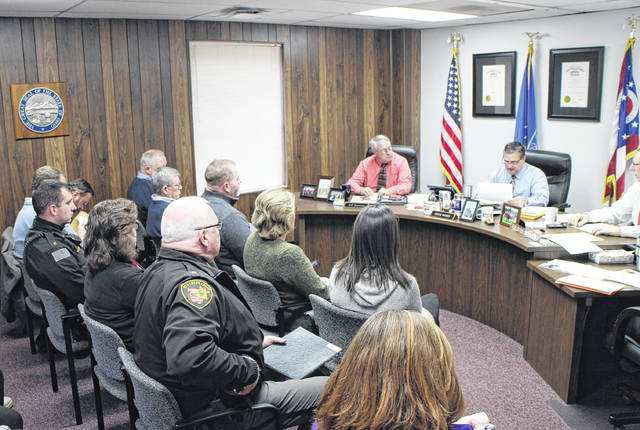 Representatives of county departments attend a Highland County commissioners meeting to discuss the 2018 budget.