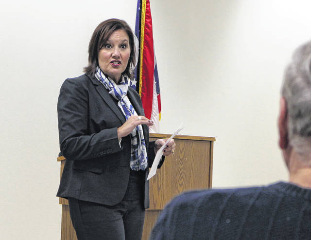 Ohio gubernatorial candidate and Lt. Gov. Mary Taylor speaks to members of the Highland County Tea Party on Monday.