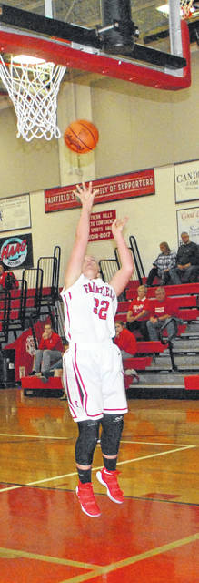 Blake Adams shoots a wide open layup late in the third quarter of the Lady Lion's game against the Peebles Lady Indians on Monday at Fairfield High School