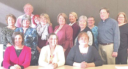 Pictured are individuals who attended a recent training sponsored by the Ohio Department of Aging and the Area Agency on Aging District 7 to assist with classes in the district for family caregivers (seated, from left) Emilia Jackson, Angela Homoelle and Cher Bellar; (standing, from left) Vicki Woyan, Vicky Abdella, Daniel Charlebois, Etta Charlebois, Carla Cox, Jennifer Atkinson, Jeanne Cairns, Sharon Bell, Linda Lohse-Smith, Aaron Glauberman and Melissa Kimmel.