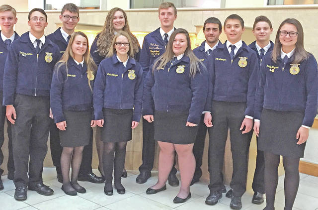 Lynchburg-Clay FFA members attended the 212/360 Leadership Conferences. Those in attendance included (front row, l-r) Ryan Hornschemeier, Hailee Waits, Hailey Georges, Brailey Young, Austin Leininger and Carly Bingaman; (back row,l-r) Dawson Osborn, Jeremy Bingaman, Kara Williams, Kurt Hamilton, Tyler Unger and Ashton Frazier.