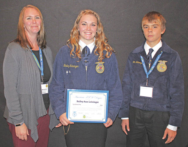 Lynchburg-Clay FFA American Degree recipient Bailey Leininger is pictured with her mother, Dana Berryman, and brother, Austin Leininger.