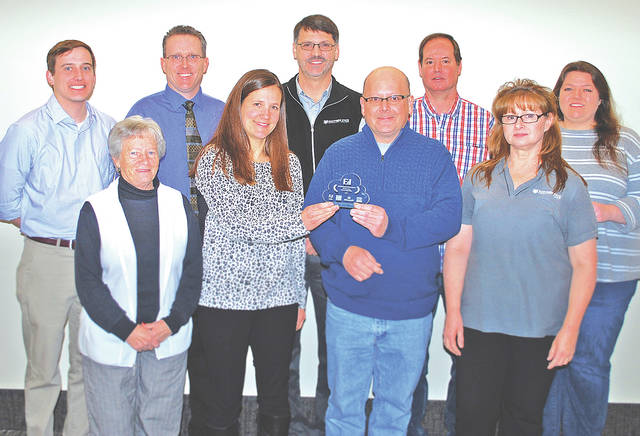 Recipients of the Cloud Leadership Award include Southern State Community College's IT team (front, l-r) Shirley Cornwell, Katy Markey, Charles Zinn and Dawn Jones; (back, l-r) Tyler Bick, Brian Rice, Bob Snellman, Gary Jones and Jessica Steadman. Not pictured are Roberta Latham, Cathy Zile and Justin Hamilton.