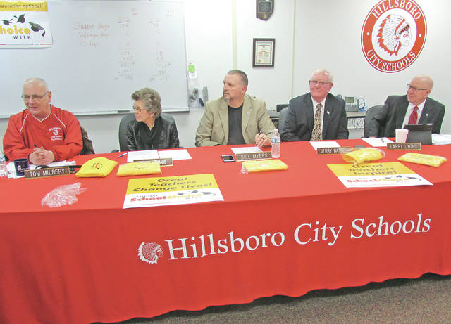 Hillsboro City Schools Board of Education members are pictured at Monday's meeting, from left, Tom Milbery, Beverly Rhoads, Bill Myers, Jerry Walker and Larry Lyons.