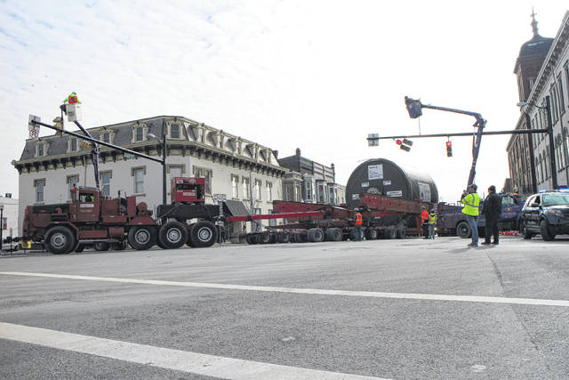 A huge cargo bound for Pickaway County made its way through Hillsboro on Thursday, as onlookers dotted the streets to watch the unusual parade.