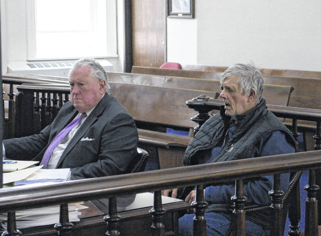 Terry Yankie, right, sits in Highland County Common Pleas Court on Monday with defense attorney Robert Croswell III.