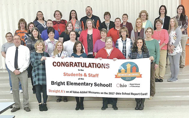 Bright Elementary School recently received the Momentum Award for the 2016-17 school year. This award is presented by the State Board of Education and it recognizes schools for exceeding expectations in student growth for the year. Student growth is determined by how much academic progress students are making by measuring growth between two points in time. Schools that receive the Momentum Award must earn straight A's on all Value-Added measures on the state report card. Bright Elementary received an A for the Overall Student Population as well as for Students with Disabilities and Students who were at the Lowest 20 percent in achievement.