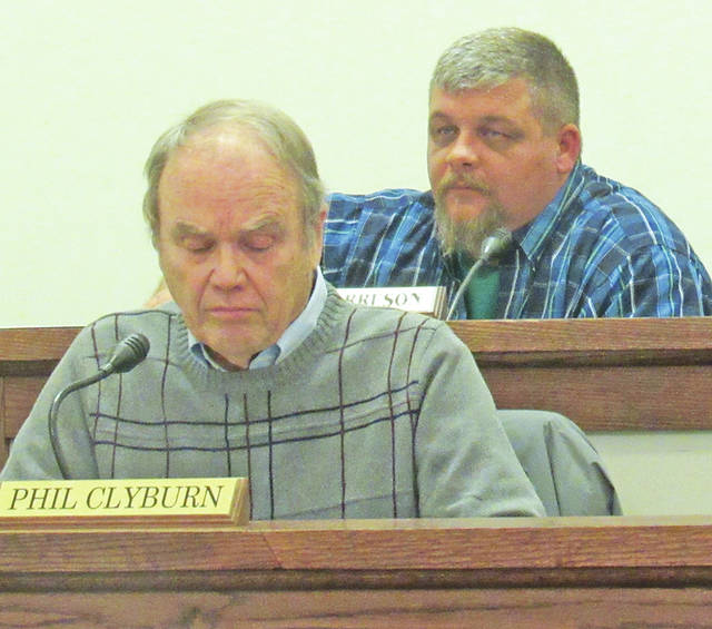Greenfield Village Council Chair Phil Clyburn, front, and council member Chris Borreson are pictured during Wednesday's regular council meeting.