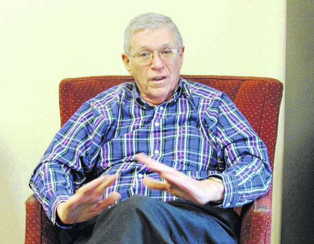 Bill Fawley makes a point during an interview Thursday in the offices of The Times-Gazette. Fawley is running unopposed for an eighth term as Highland County auditor.