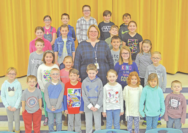 The following children were chosen as Students of the Month at Lynchburg-Clay Elementary for February. The students were chosen by their teacher for displaying positive behavior, being responsible and respectful, doing good deeds as well as their school work, and for being a positive role model for others. Pictured are (front row, l-r) Hailey Hively (first grade), Kaden Hurley (kindergarten), Jared Cordrey (first grade), Owen Faust (first grade), Noah Elliott (first grade), Sophia Warne (kindergarten), Arianna Wilson (kindergarten), Isla Hejazifar (kindergarten) and Mason Gragg (prekindergarten);(second row, l-r) Bryn Rosselott (second), Ava McLaughlin (fourth grade), Mrs. Godby (principal), Aubrey Roberts (second) and Connor Case (third grade); (third row, l-r) Aiden Bene (third grade), Jesse Antczak (third grade) and Rosemary Holaday (third grade); (fourth row, l-r) Libby Watson (second grade), Kami Collins (fourth grade), Koen Critzer (fourth grade) and Claudia Etienne (fourth grade); and (fifth row, l-r) Ellie May Wolf (fifth grade), Landen Campbell (fifth grade), Erin Zwiesler (fifth grade), Jack Purdy-Wylie (fifth grade) and Jace Petrycki (fifth grade). Not pictured were Isabella Ludwick (prekindergarten), Luke Thompson (first grade) and Clara Carraher (second grade).