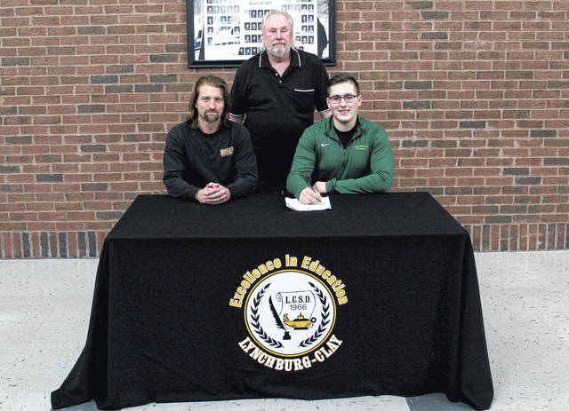 Ben Bales has signed to run track and cross country at Wilmington College. Ben is a 4 year letter winner in both sports at Lynchburg-Clay. Pictured (l-r): James OConnor (LCHS track/XC coach), Roger Bales (father), Ben Bales
