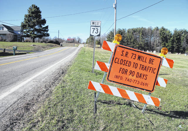Orange signs recently set up at the intersection of SR 73 and Prospect Road south of Hillsboro signaled a lengthy closure of the state route.