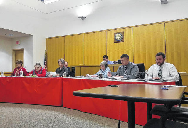 Shown from left are Hillsboro City Council members Mary Stanforth, Claudia Klein, Ann Morris, Wendy Culbreath, Brandon Leeth and Adam Wilkin at a council meeting Monday night at the Highland County Justice Center. Partially shown in the background is Council President Pro Tempore Justin Harsha, sitting in for council President Lee Koogler.