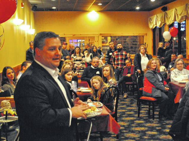 Highland County Commissioner Shane Wilkin, foreground, speaks to those in attendance at a campaign kickoff event Wednesday evening at Alley 21 as he vies for the Republican nomination for representative of the 91st District.