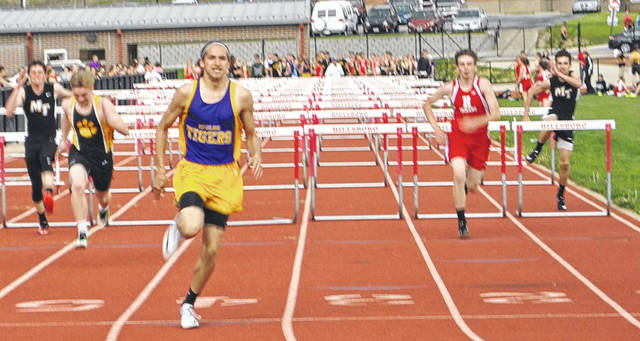 In this file photo from the 2017 season senior Landree Gray crosses the finish line in the boys 100-meter hurdles at Hillsboro High School during the 2017 Hillsboro Invitational.