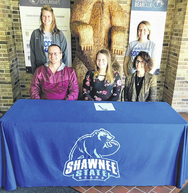 Greenfield McClain senior Hannah Smith will continue her soccer career at Shawnee State University in Portsmouth, Ohio. Shawnee State competes in the National Association of Intercollegiate Athletics (NAIA). Hannah was a four year starter and four year letter winner for the Lady Tigers, as well as serving as a team captain. Pictured with Hannah are her parents William and Monica Smith and Shawnee State Women's soccer coaches Aubrey Sherman and Ashley Muhar.