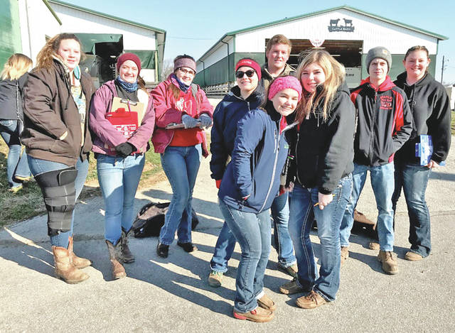 """Livestock judging is in full swing and the Hillsboro FFA general livestock judging team is working hard to get back to the state competition again this year. On March 3, five members attended the competition in Marysville. They placed sixth as a team and Kirsten Harp placed third individually. """"Livestock judging is a great opportunity and something that I really enjoy,"""" Harp said. On March 7, the team attended the Wilmington Aggies competition in Springfield. Nineteen members attended the competition and Joe Helterbrand placed in the top 60 out of 600 other competitors. On March 10, nine members attended the Miami Trace judging contest. The team placed eighth overall and Emma Parry placed in the top 20. Pictured, from left, are Haley Hughes, Alora Brown, Loraleigh Mayhan, Lexi Hetzel, Joe Helterbran, Kirsten Harp, Emma Perry, Bryce Stanley and Ashlie Hillyer."""