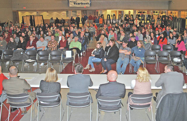 A portion of the crowd that attended a safety forum Wednesday at the Hillsboro High School auditeria is shown in this photo. School administrators are shown in the foreground.