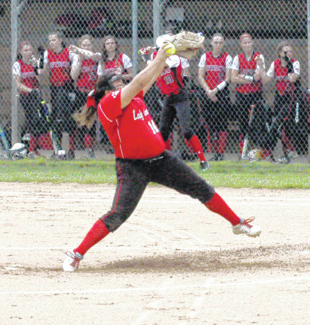 In this file photo Fairfield starting pitcher Kaiti White winds up for a pitch in a home matchup during the 2017 season.