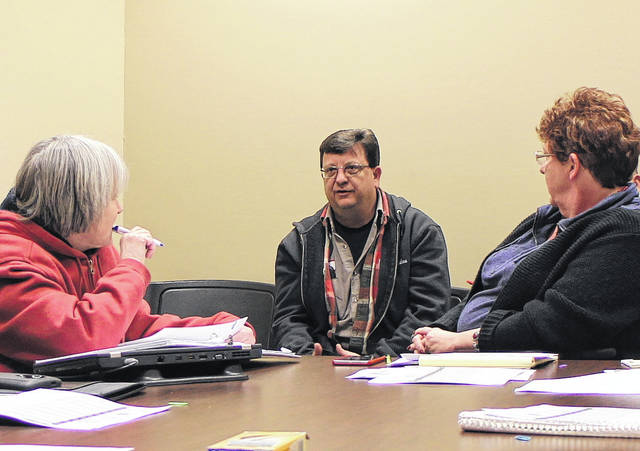 Hillsboro Water Department Superintendent Jason Bernard, center, speaks to members of Hillsboro City Council's Utilities Committee and Finance Committee Thursday night. Also shown are Councilwoman Wendy Culbreath, left, and Administrative Assistant/Grant Writer Kirby Ellison.