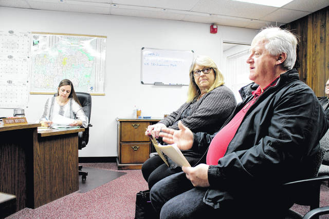 Mark Current and Rhonda Kidder of the Highland County Community Action Organization, both seated at right, speak to the Highland County Board of Commissioners Wednesday. Also shown is Commission Clerk Nicole Oberrecht, seated at left.