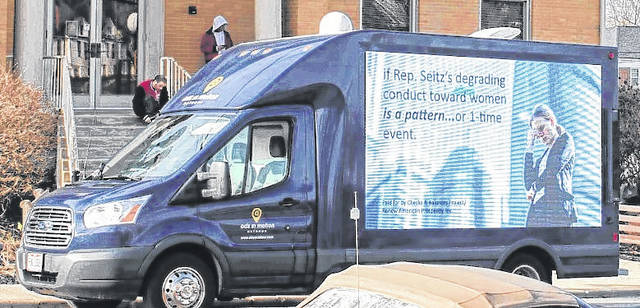 """The Checks and Balances Project """"mobile billboard"""" made stops in Clinton County on Monday as it traveled through the 91st District. The vehicle also came through Hillsboro."""