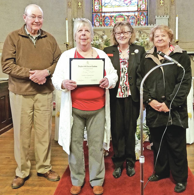 Pictured from left are Larry and Peggy Addington; DAR member Charleene Tarr; and Vicki Knauff, director of the Highland House Museum, who nominated Peggy Addington for the Community Service Award.