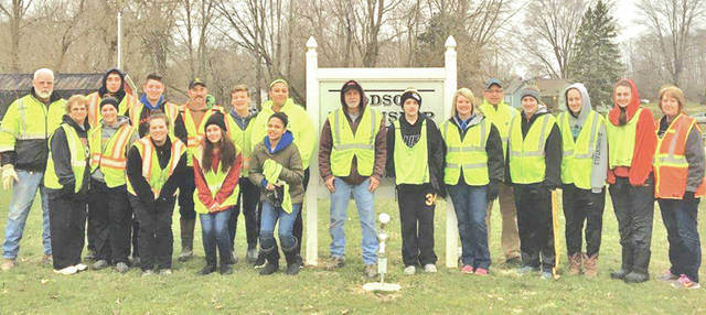 The Dodson Township Trustees held their annual Trash Clean-up Day on Saturday, March 24. Pictured are some of those who helped: RM Pumpelly, Jan Pumpelly, Devin Pierson, Marissa Mitchell, Ethan McConnaughey, Lindsey Mitchell, Randy Mitchell (trustee), Sara Wilkin, Ryan Mitchell, Zoe McClean, Tia McGinnis, Marvin Resibois (trustee, Bryce Binkley, Stephanie Binkley, Ty Smith (trustee), Hannah Binkley, McKayla Binkley, Logan Binkley and Connie Resibois. Not pictured were Logan Warner, Julie Mitchell and Kristy Warner (fiscal officer).