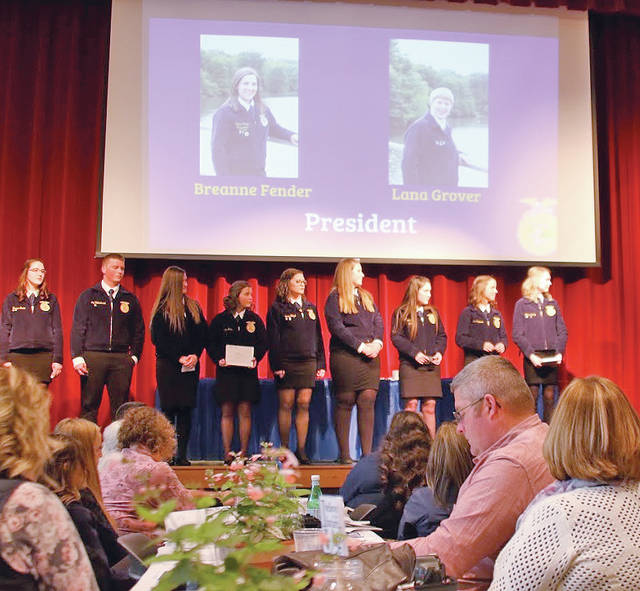 The Hillsboro FFA Chapter recently had 14 members participate in the officer elections for the 2018-19 officer year. There are four parts of the officer process – an application, a popular vote, a written test and an interview. The interview was held at the high school. These four categories are used to determine who best fits the top 10 spots on the officer team. Officers are in charge of planning all chapter events and oversee the chapter. The 14 members were Lana Grover, Kaleb Castle, Larkyn Parry, Jordan Williamson, Kirsten Harp, Katie Craig, Loraleigh Mayhan, Haley Hughes, Lexey Hetzel, Ashlie Hillyer, Alora Brown, Jade Neukam, Joe Helterbrand and Heather Burba. Everyone did a great job this year Lana Grover was named president. The vice president is Larkyn Parry, the vice president of student development is Jordan Williamson, vice president of chapter development is Loraleigh Mayhan, the vice president of community development is Haley Hughes, the secretary is Lexey Hetzel, the treasurer is Kirsten Harp, reporter is Alora Brown, Joe Helterbrand is sentinel, Heather Burba is adviser.