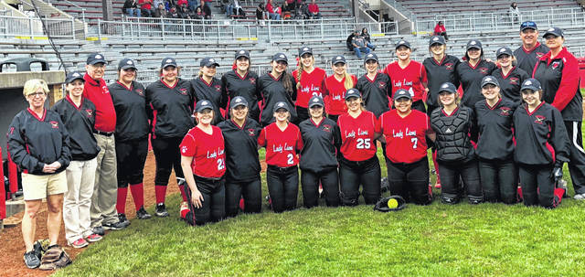 The Fairfield Lady Lions pose for a team picture at Firestone Stadium in Akron. Pictured back row (l-r): Coach Cindy Michael, Coach Kayla Dettwiller, Coach Tom Purtell, Taylor Lawson, Gracie Lawson, Harley Flint, Ashley Sanderson, Jaden Smith, Megan Crum, Megan Gragg, Madi Fox, Layla Hattan, Allisa Hester, Molly Thackston, Audrey Oder, Coach Mark Dettwiller, and Coach Lesley Hattan. Front row (l-r): Allyce McBee, Carli Reiber, Hayleigh Lowe, Morgan Sheridan, Emily Williams, Kaiti White, Lauren Arnold, Lyndee Spargur, and Kiley Lamb.
