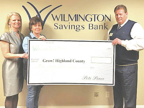 Pictured, from left are Tracy Evans, Grow! Highland County facilitator; Diana Fordyce, Grow! Highland County president; and Timothy L. Priest, VP/commercial lending officer of Wilmington Savings Bank.