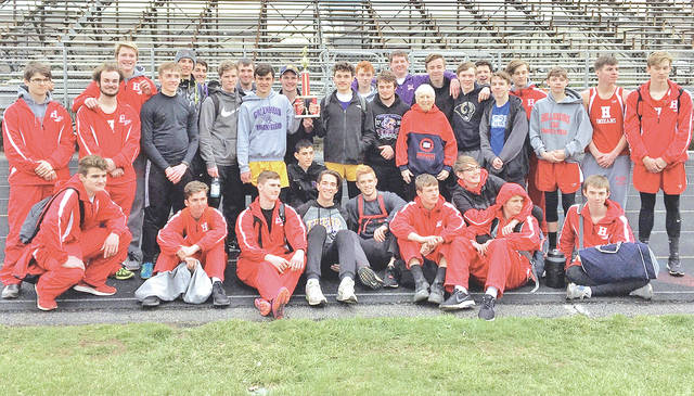 Members of the Hillsboro and McClain track and field teams are pictured Saturday after they tied for first place at the eight-team Circleville Kiwanis Relays with 91 points apiece. Other results were not immediately available.