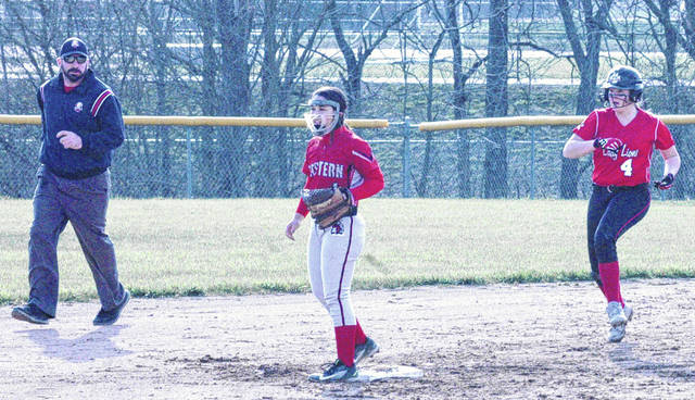 Fairfield's Layla Hattan runs to second base at Fairfield High School on Thursday when the Lady Lions took on the Eastern Lady Warriors in a SHAC softball showdown.