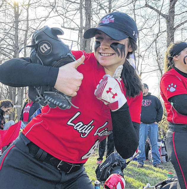 Fairfield's Molly Thackston gives two thumbs-up on Wednesday at Whiteoak High School following the Lady Lions' 13-0 victory over the home standing Lady Wildcats.