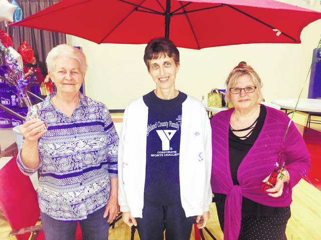 Pictured are winners of the major prizes from last Thursday's Times-Gazette Homemakers Show at the Patriot Center at Southern State Community College in Hillsboro. Bonnie Throckmorton, left, won $100 from The Laurels as a door prize. Mary White, center, won a patio set from Walmart. Judy Mason, right, won $100 from The Laurels in the food drive drawing.