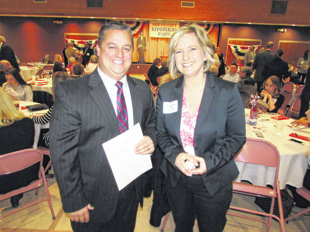 Shane Wilkin, left, and Beth Ellis are shown at the recent Highland County Lincoln Day Dinner in Hillsboro.