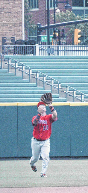 Caleb West snags a fly ball on Thursday at Huntington Park in Columbus where the Wildcats took on the Hicksville Aces in the D IV State Semifinal.