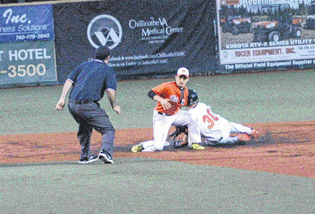 Whiteoak's Caleb West is caught stealing in the bottom of the first inning Tuesday at Paints Stadium in Chillicothe against Belpre in a Southeast District Semi-Final baseball game.
