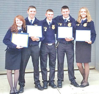 Fairfield FFA State Degree recipients, from left, were Teigan Thackston, Tanner Collins, Dale Back, Connor Shoemaker and Bri Burleson.