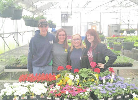On Tuesday, April 24 the Fairfield FFA Floriculture team traveled to Wooster to compete in the State Floriculture CDE. The team consisted of Rachel Schuler, Alexis Tompkins, Teigan Thackston and Kohler Bartley. The team placed 19th overall. A total of 103 individuals competed. Individual placings are as follows: Teigan Thackston 65th, Alexis Tompkins 79th, Rachel Schuler 84th and Kohler Bartley 93rd. The team members had to place different floral arrangements, identify floral equipment, diseases, insects and plant names. Pictured, from left, are Kohler Bartley, Rachel Schuler, Alexis Tompkins and Teigan Thackston.