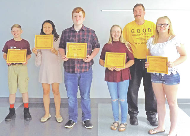 Pictured with Lion Ron Derry are the 2018 Leesburg Lions Club GOOD Award winners, from left, were Zane Matthews, Sophie Young, Garrett Tipton, Hayleigh Lowe, Derry and Kailey Seitz. Not pictured are Gwen Cox, Adam Rice-Berwanger and Gabrielle Cummins.