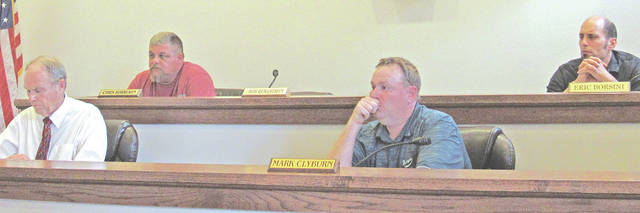 Greenfield Council members, from left, pictured at Tuesday's meeting are Phil Clyburn, Chris Borreson, Mark Clyburn and Eric Borsini. Not pictured is Bob Bergstrom, who was excused from the meeting.