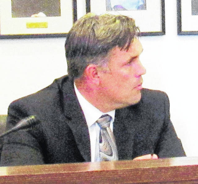 Greenfield City Manager Todd Wilkin is shown at Tuesday's village council meeting.