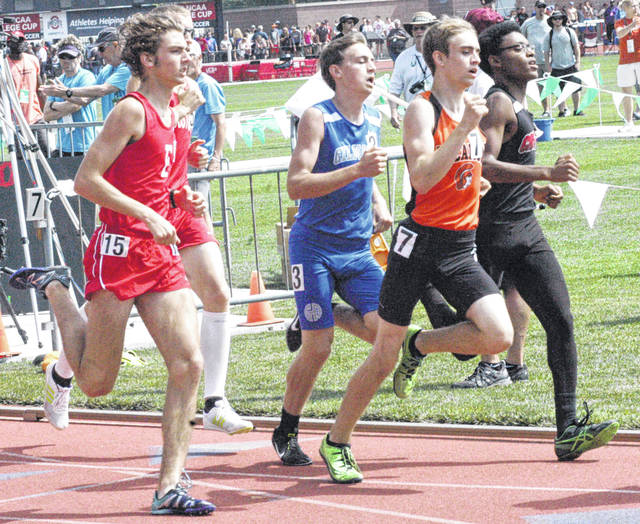 Brandtson Duffie, far left, runs in the OHSAA State Track and Field Meet D III 800-meter run on Saturday at Jesse Owens Memorial Stadium in Columbus.