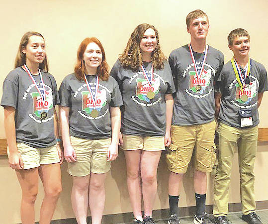 The Lynchburg-Clay Mustang Team recently placed fourth in State Envirothon. Pictured, from left, are Allison Kohus, Leah Bauer, Kara Williams, Kurt Hamilton and Austin Leininger.
