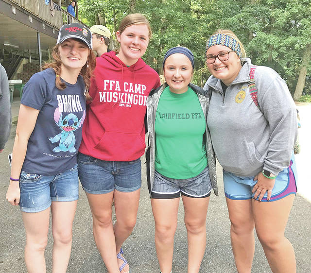 """Fairfield FFA members set out June 22 for FFA Camp Muskingum. Four members attended the Ohio Leadership Camp including Teigan Thackston, Bre Flint, Alexis Tompkins and Paige Teeters. They spent four days and three nights at camp making new friends and lifelong memories. They were involved in a 360 Influence Conference held by the National FFA where they learned how to be a positive leader, influence, and impact on their chapter, community and world. They also participated in a talent show, water games, motor boating, swimming and more. They described camp as an """"unforgettable experience"""" and said they can't wait to put what they learned into action in their hometown. Pictured, from left, are Thackston, Teeters, Tompkins and Flint."""