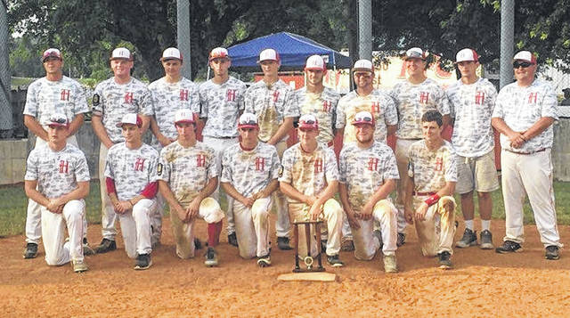 Hillsboro Legion Post 129's baseball team poses for a team photo at Shaffer Park in Hillsboro on Sunday after winning their wood bat tournament held June 15-17.