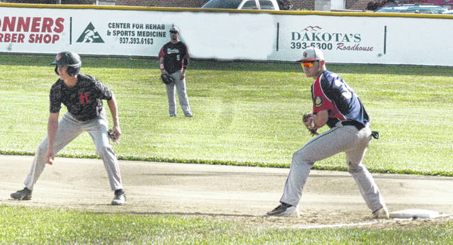 Traeten Hamilton takes a lead off of first base on Wednesday in the first inning of Hillsboro American Legion Post 129's baseball game against Chillicothe Post 62 at Shaffer Park.