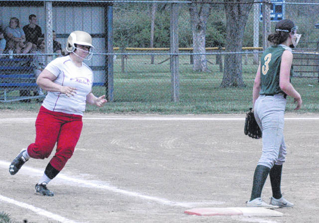 Riley Moberly, runs down the first base line in the Lady Indians' final regular season game of the 2018 season. Moberly was selected as a member of the Southeast All-District Softball Second Team.