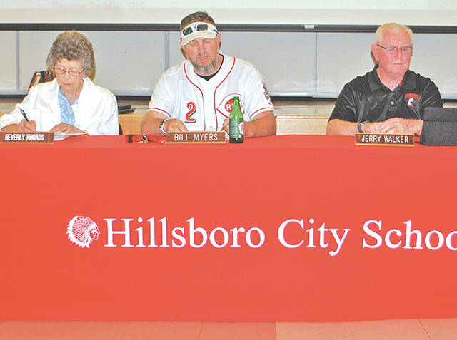 Hillsboro School Board members are pictured at Monday's meeting, from left, Beverly Rhoads, Bill Myers and Jerry Walker.